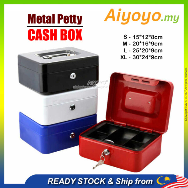 Metal Petty Cash Box Handle Tray Safe Money Coins Bill Key Security Deposit Money Safety Box Safe Box Home Office Hotel Personal Cash Jewelry
