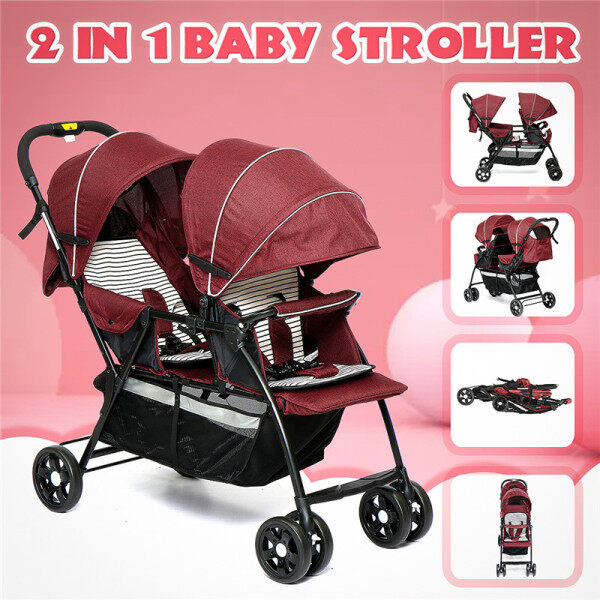 【2020 CNY SALE】(GREY/RED/BLACK-2 in 1) Comfortable Double Seat Twin Baby Stroller Front+Back Tandems Compact Stroller For Child-Large storage basket, sun canopy & foldable back seat Singapore