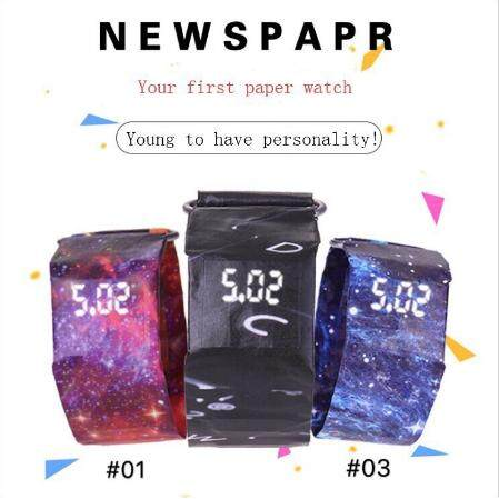 ceative Paper Watch LED Waterproof Clock Tyvek Paper Strap Digital Watches Malaysia