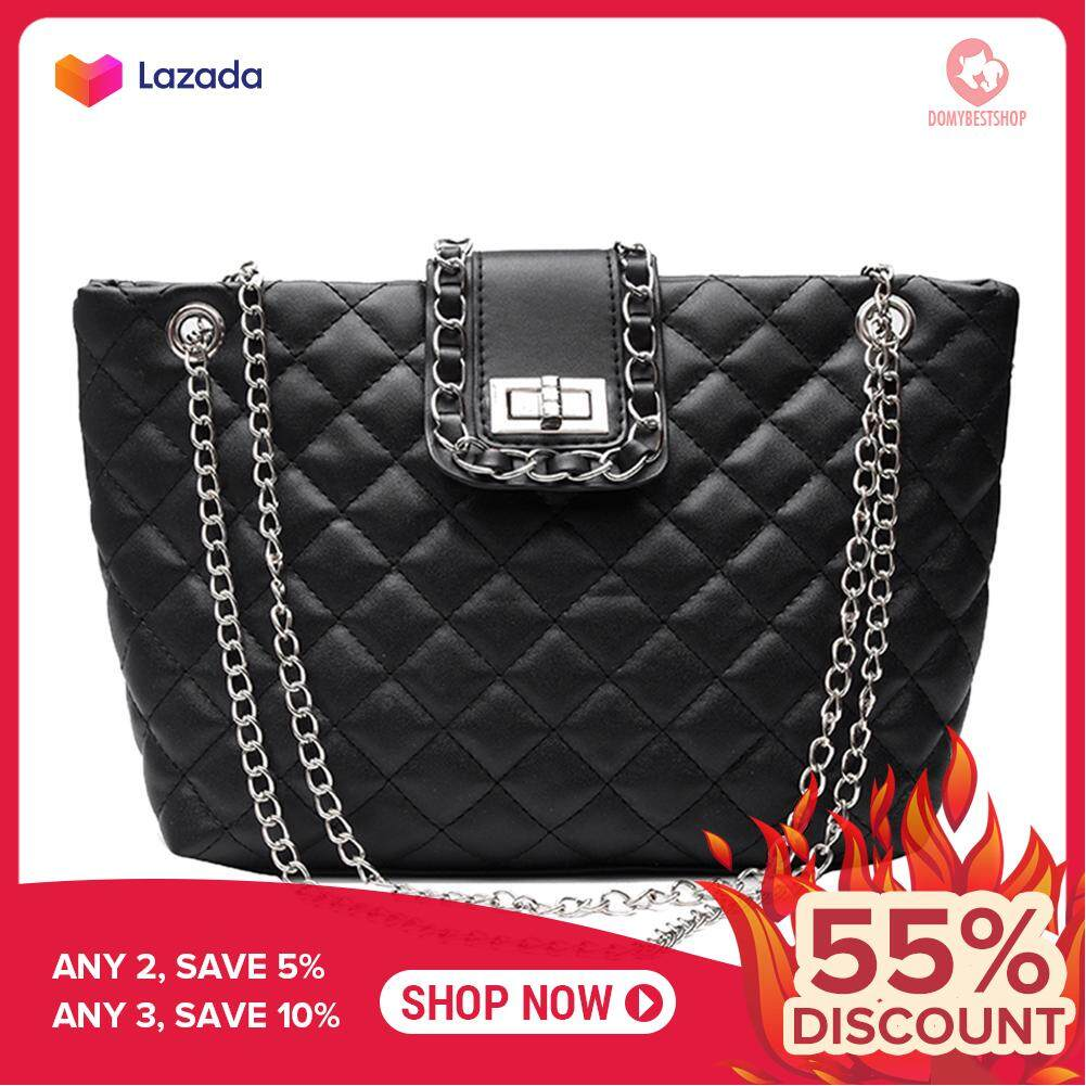 Travel Casual Ladies Leather Handbag Solid Color Top-handle Bag Large Chain Tote