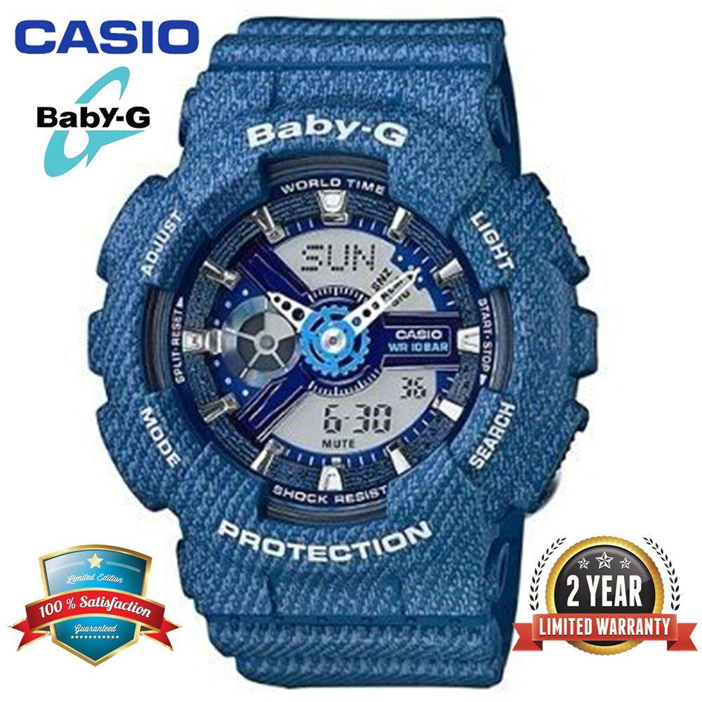 Original Baby G BA110 Women Sport Watch Dual Time Display 100M Water Resistant Shockproof and Waterproof World Time LED Light Girl Sports Wrist Watches with 2 Year Warranty BA-110DC-2A2 (Ready Stock) Malaysia