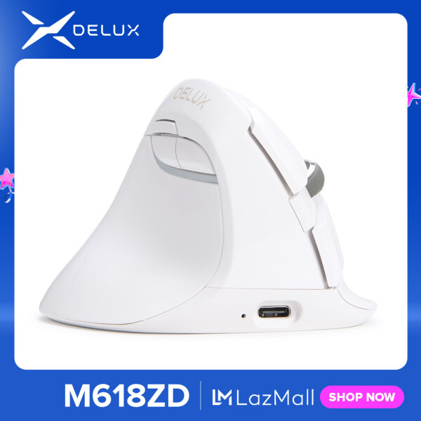 Delux M618Mini Ergonomic Vertical Mouse Left-handed Southpaws Wireless Gaming Mouse Gamer Bluetooth 2.4GHz Build in Rechargeable Battery Mice for Computer PC laptop gamer