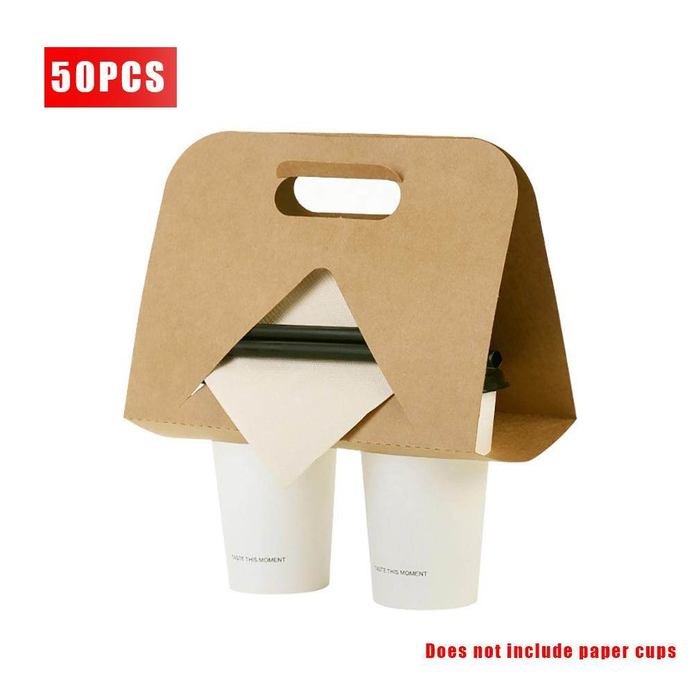 50PCS Disposable Paper Cups Kraft Paper Portable Cups Coffee Cups Milk Tea Take-out Packaging Cups Paper Cup Handle Holder Eco Friendly for Coffee Milk Tea