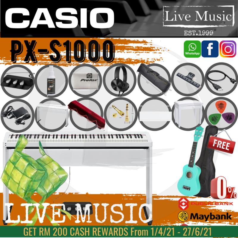 Casio PX-S1000 88 Keys Digital Piano *Raya Sale* with Keyboard Bench, Stand,3 Pedal - White (PXS1000 / PX1000) Malaysia