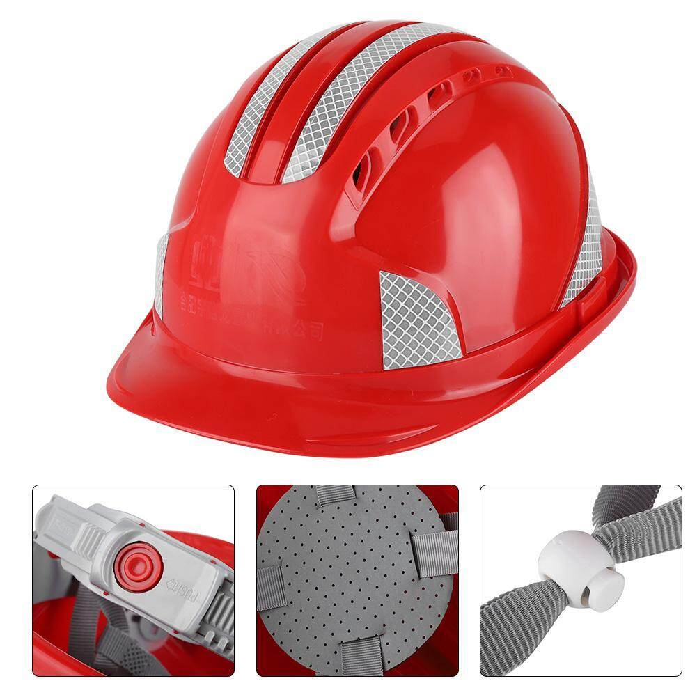 Worker Construction Site Protective Cap Ventilate ABS Hard Hat Reflective Stripe Safety Helmet