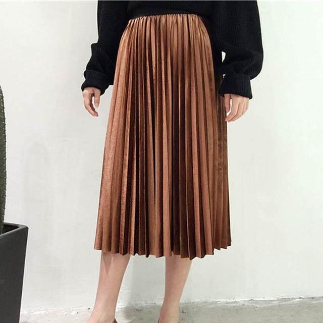 62ed8c8eb1 En la primavera de 2019 de las mujeres de plata metálica de Maxi Falda  plisada falda