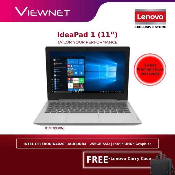 LENOVO IDEAPAD 1 11.6'' 11IGL05 81VT003RMJ LAPTOP| INTEL CELERON N4020| 4GB DDR4| 256GB SSD| INTEL UHD GRAPHICS 600| WIN10| 1 YEAR WARRANTY| GREY| FREE LENOVO CARRY CASE Malaysia