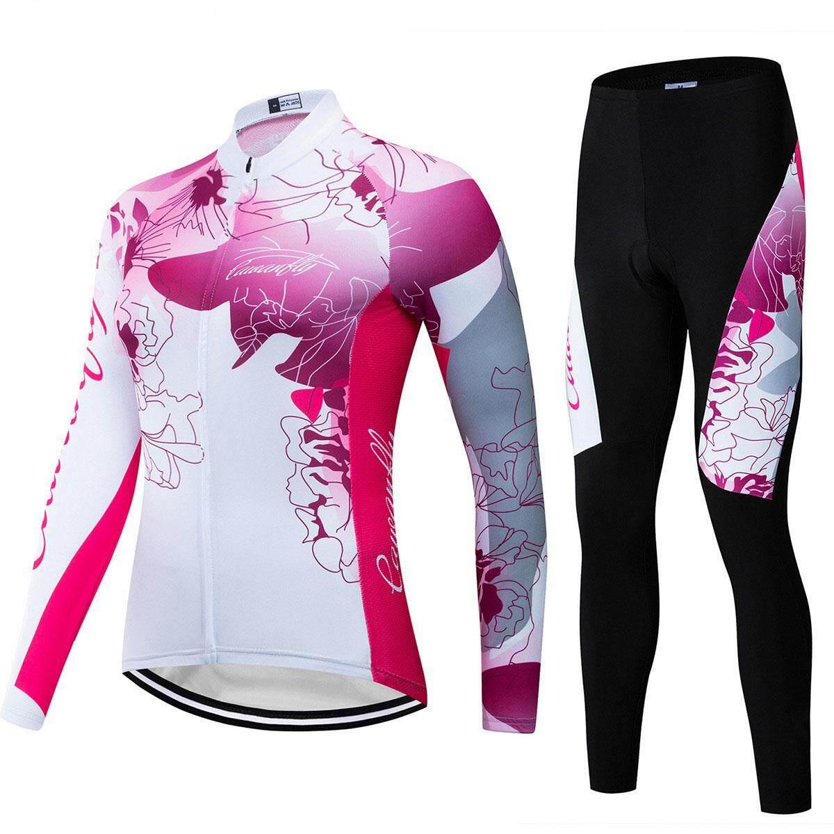 Pro Long Sleeve Cycling Clothing Set 9D Gel pad (Rose) SS14