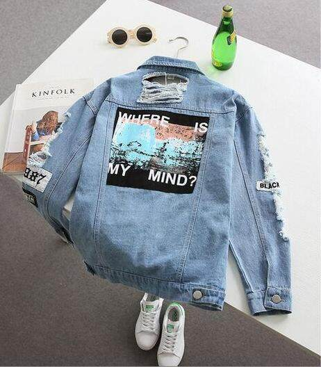 Women Denim Jacket Print Vintage Outwear Spring Fashion Denim Jacket Casual Streetwear Jean Coat For Ladie Single Breasted Long Sleeve Hole Denim Jacket By Yiyi Fashion.