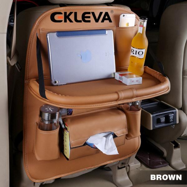 Túi treo đồ sau ghế ô tô bằng da EKLEVA gấp gọn được có bàn để đồ chắc chắn chống nước chống bụi - INTL