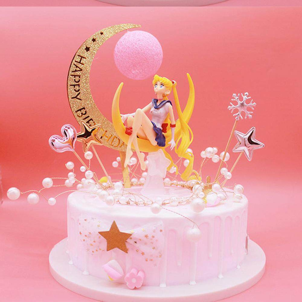 Sailor Moon Cake Topper Bake Decor Toys Anime Figuarts Gift Figure Doll
