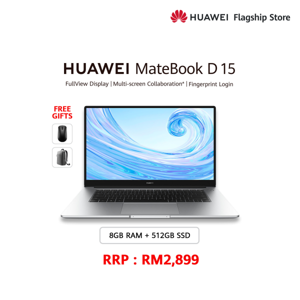 HUAWEI MATEBOOK D 15 R7 (8+512GB) FREE Mouse + FREE Backpack Malaysia