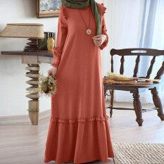 ZANZEA Muslimahผู้หญิงมุสลิมอิสลามKaftanพัฟแขนชายผ้าแบบพองฟูยาวชุดเดรสแม็กซี่ขนาดพิเศษ