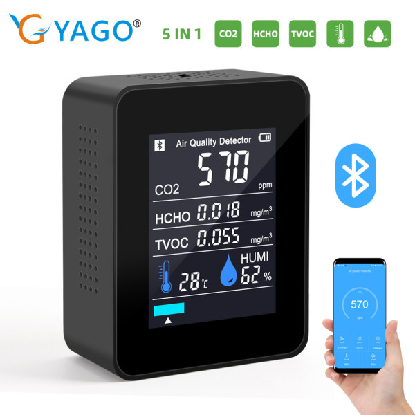 RCYAGO Bluetooth Wifi Remote Connnected Air Quality Detector CO2 Monitor HCHO Detector TVOC Humidity Monitor co2 Formaldehyde