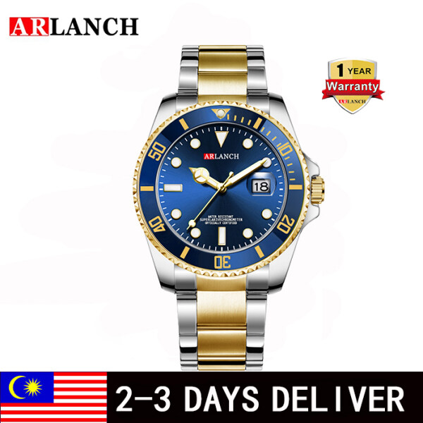 ARLANCH Business Watch for Man  Luminous Display Tempered Glass Mirror Rotatable Bezel Quartz Watches Waterproof Stainless Steel Strap Malaysia