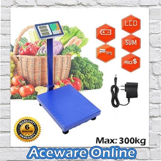 300kg High Precision Digital Electronic Weight Price Platform Scale Rechargeable (Random Color)