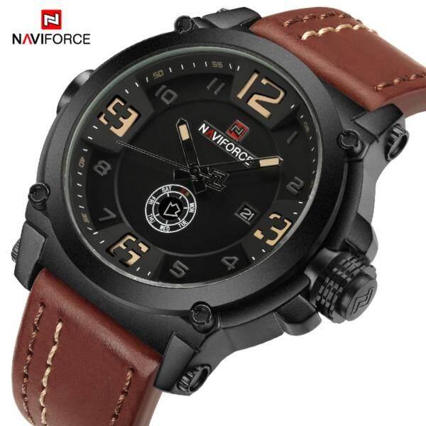 NAVIFORCE 9099 Men Sport Military Casual Quartz Date Week Leather Waterproof Male Wristwatch Watch Relogio Masculino Malaysia
