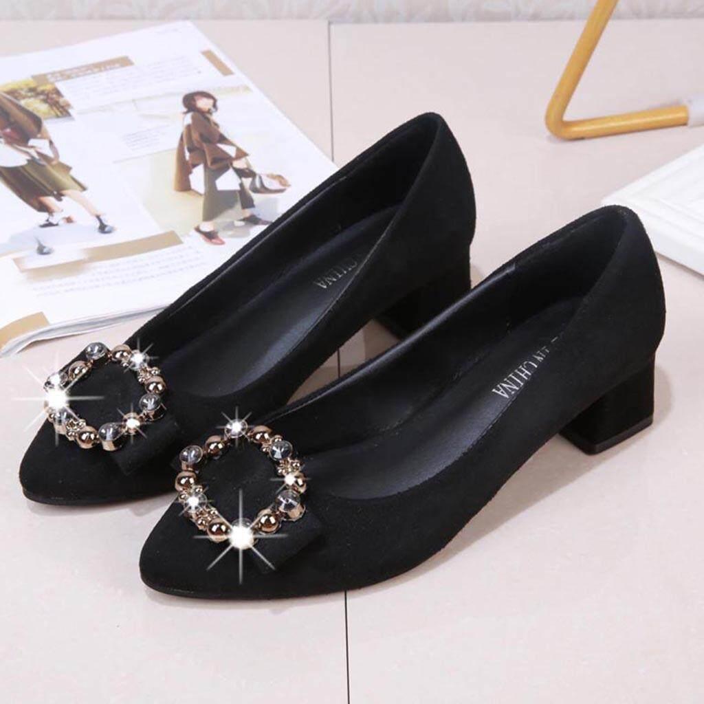 Fashion Women Ladies Fashion Crystal Casual Square Heel Single Shoes Sandals