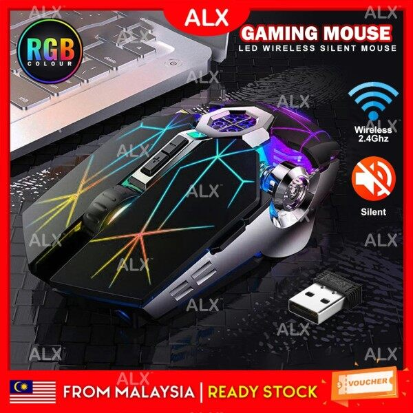 ALX BORONG Malaysia Rechargeable 2.4GHZ USB Wireless Mute Silent Gaming Mouse RGB Spectrum LED Backlit Ergonomic Mouse 1600DPI Malaysia