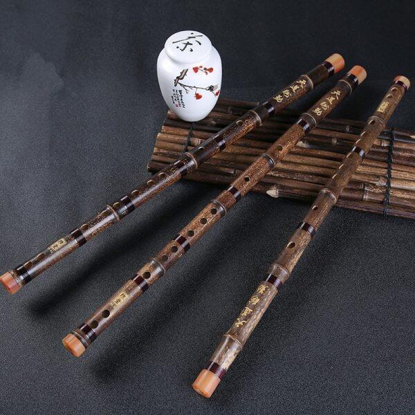 Sáo Tre Màu Tím Trung Quốc Không Sơn CDEFG Nhạc Cụ Một Phần Sáo Xuyên Thấu Chìa Khóa Trung Quốc Handmade Flauta Embolo