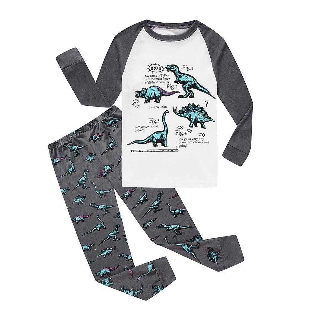417f0255 Myapple Toddler Baby Boys Girls Long Sleeve Dinosaur Tops+Pants Pajamas  Sleepwear Outfit