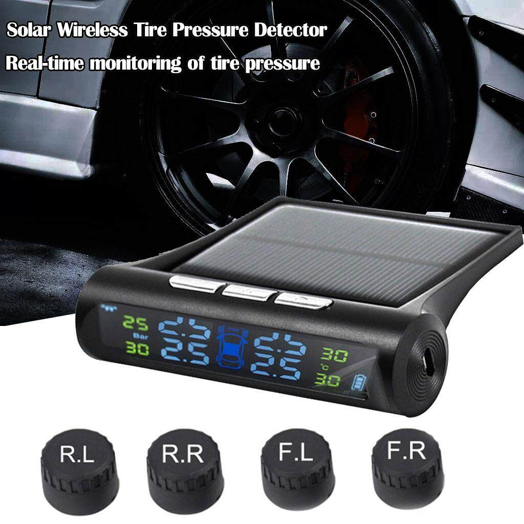 Gd Store High Precision Long Standby New Solar Tpms Wireless Stable Performancecar Tire Pressure Lcd Monitoring System + 4 External Sensors By Grendany Store.