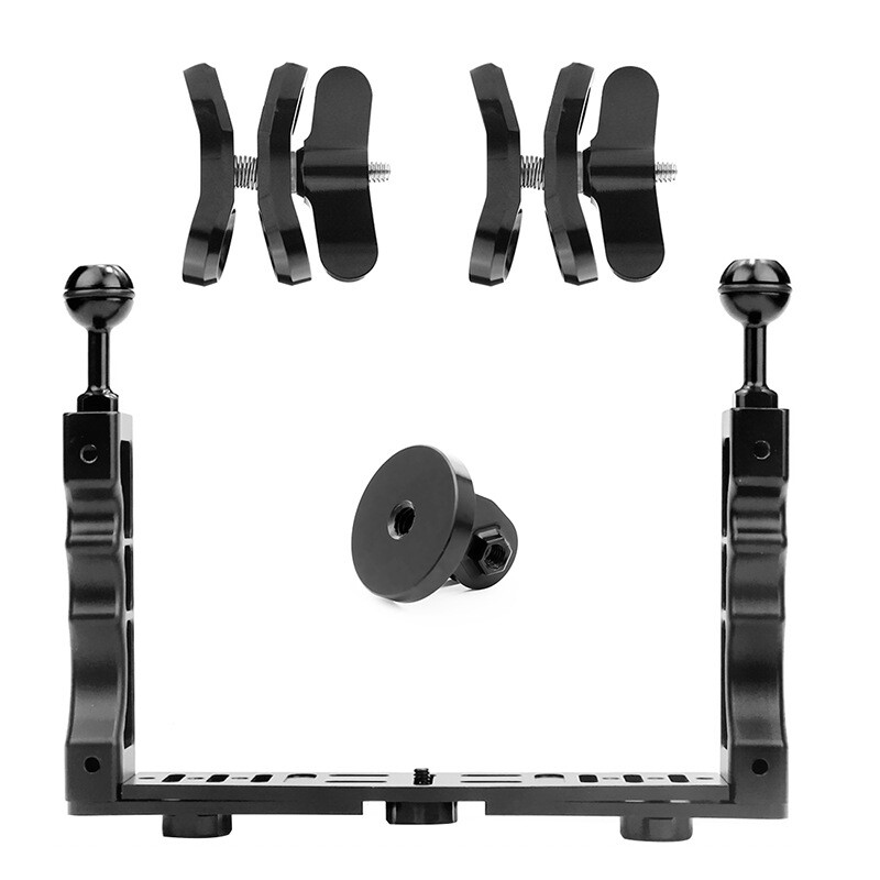 Semoic New Handle Aluminium Alloy Tray Stabilizer Rig for Underwater Camera Housing Case Diving Tray Mount for DSLR Smartphones