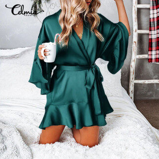 miễn phí vận chuyển Celmia Áo Choàng Kimono Mini Cổ Chữ V Quấn Kiểu Vải Sa Tanh Gợi Cảm Cho Nữ, Đêm Ăn Mặc thumbnail