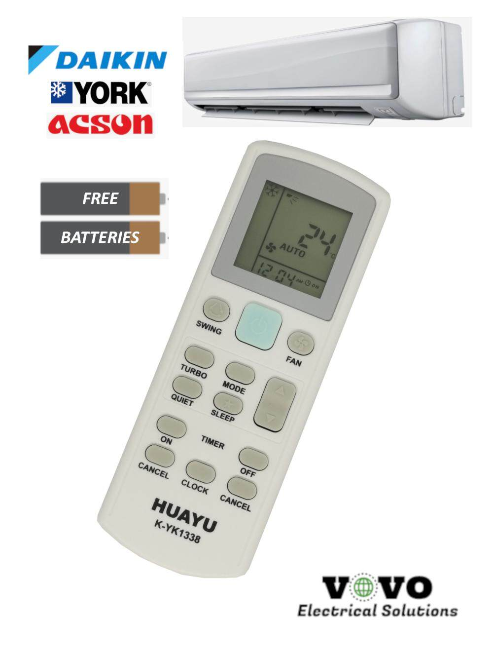 DAIKIN YORK ACSON Universal A/C Air Cond Replacement Remote Control [FOC  Battery]