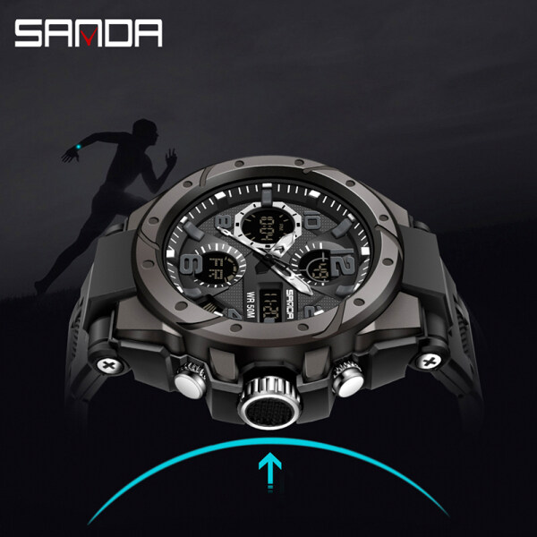 SANDA New Listing Original Creative Men Watch Sports Luxury Waterproof Quartz LED Multi-function Swimming Military Mens Watch Malaysia
