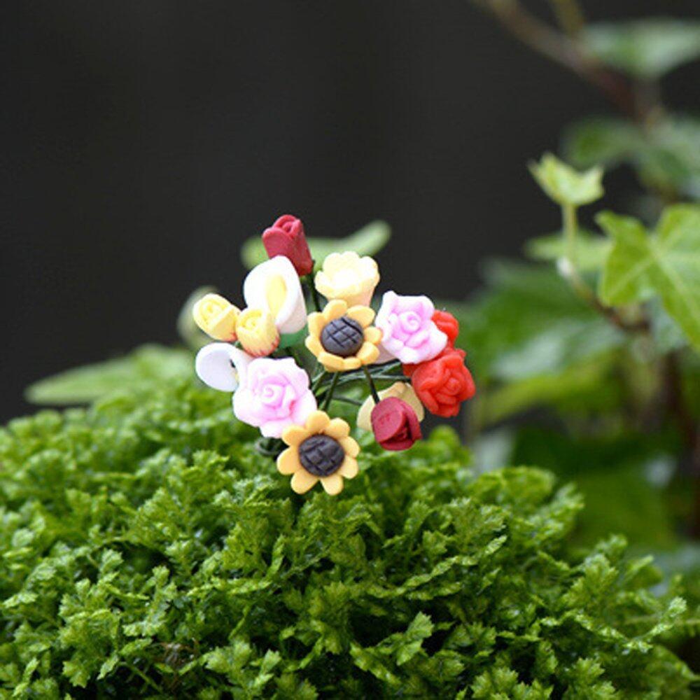 Blesiya 20Pcs Red & Pink Lifelike Rose Miniature Micro Landscape Bonsai Home Decor