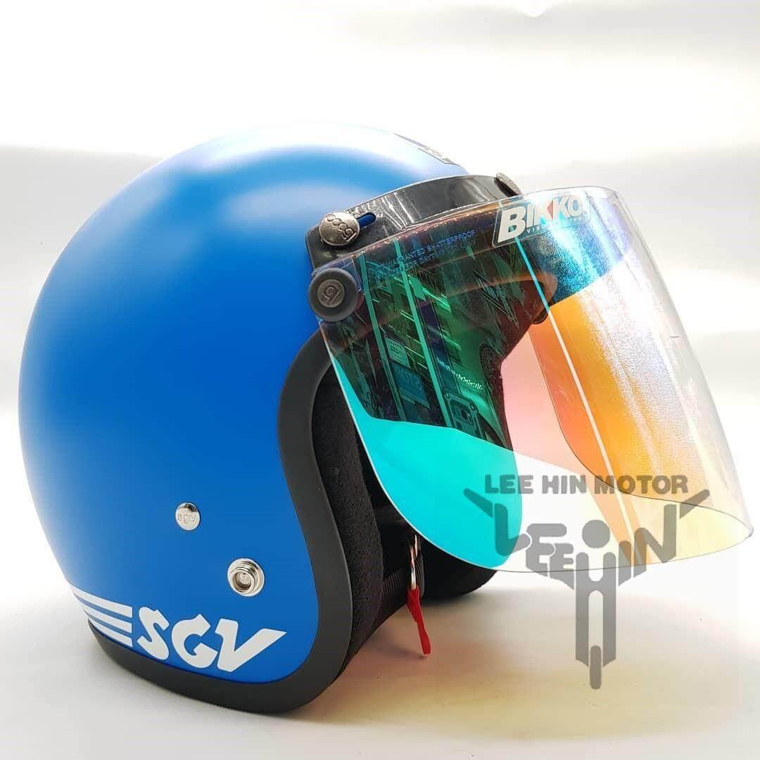 ** New Arrive ** Original SGV Trendy Matt Motorcycle Helmet ( Matt Blue ), Dark Grey