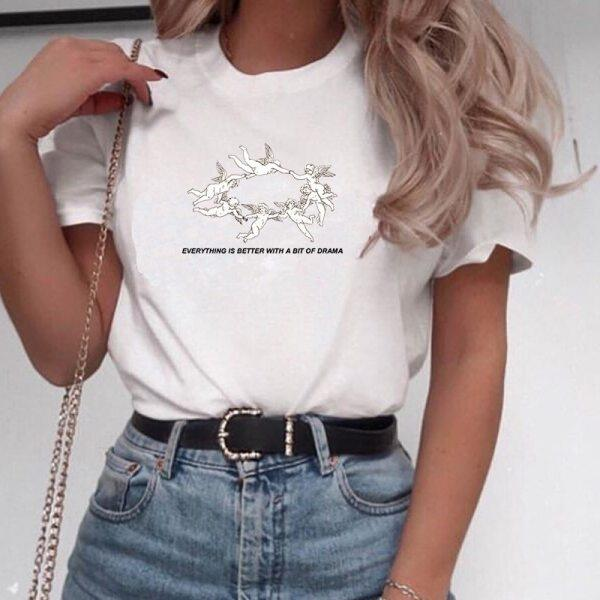 Kuakuayu Hjn Everything Is Better With A Bit Of Drama Cherub Print T-Shirt Women Cute Aesthetic Graphic Tee