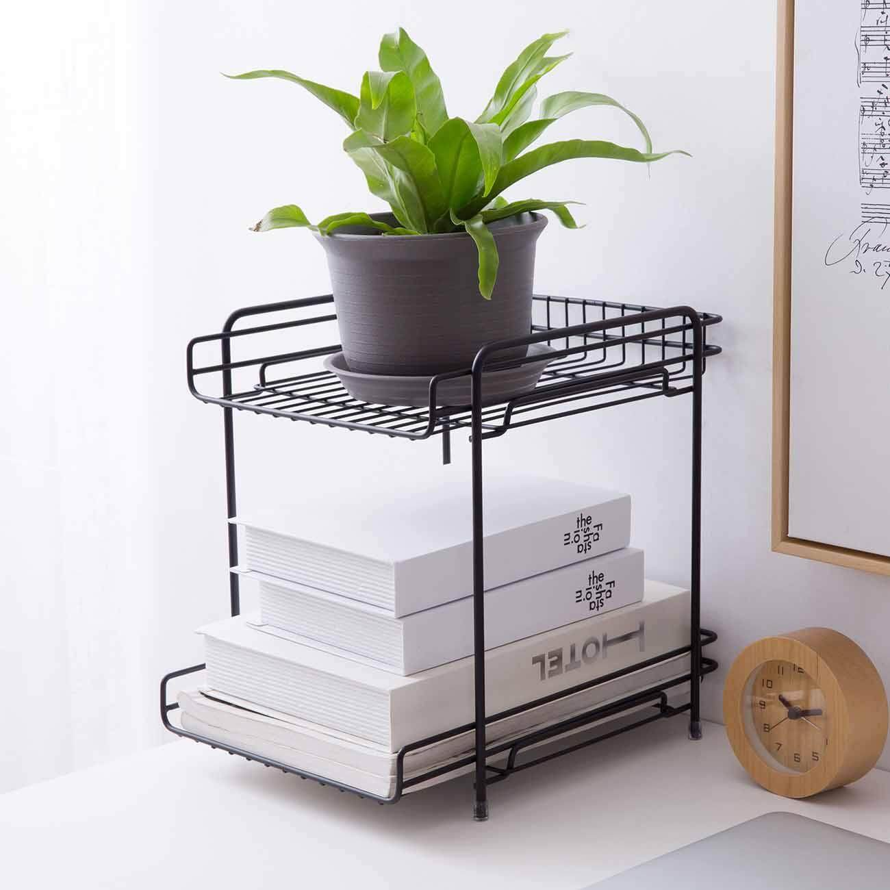 Double Layer Iron Rack Cosmetic Books Shelves Holder Home Office Desk Sundries Organizer