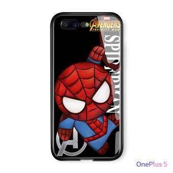 สำหรับ OnePlus 5 OnePlus 5T การ์ตูน Marvel ซูเปอร์ฮีโร่อเวนเจอร์ไอรอนแมนสไปเดอร์แมนปลอกฝาครอบ Avengers Glossy กระจกเทมเปอร์กรณีปลอก