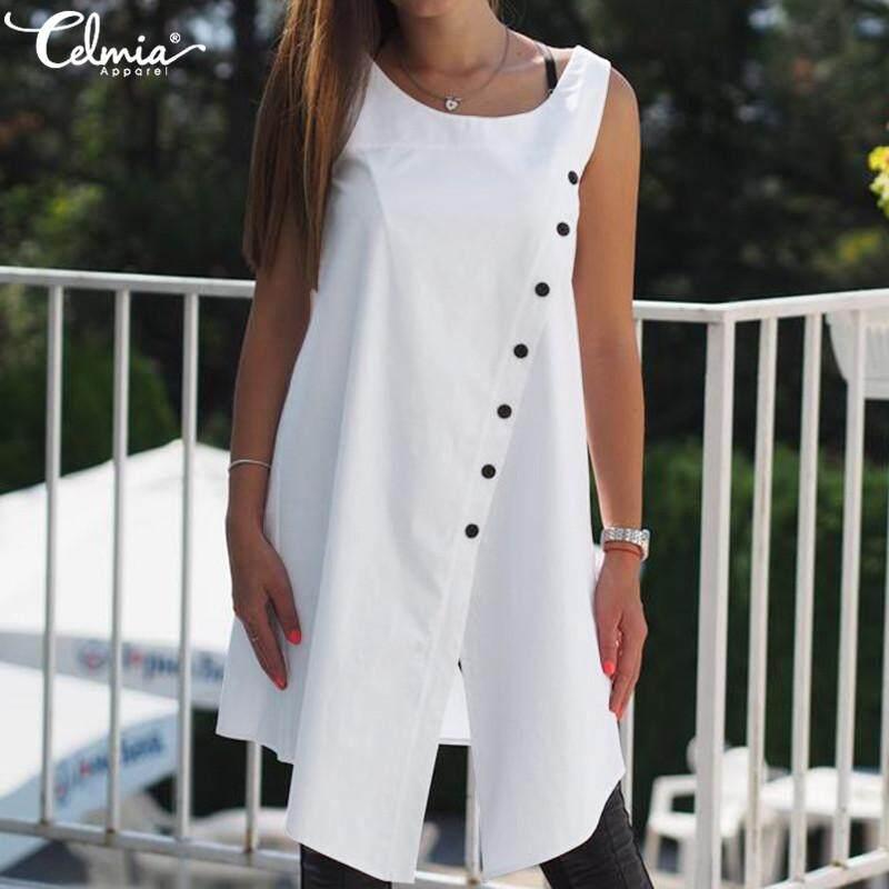1cf77731448fa Celmia Womens Summer Open Button Design Split Hem Sleeveless Round Neck  Shirt Vest