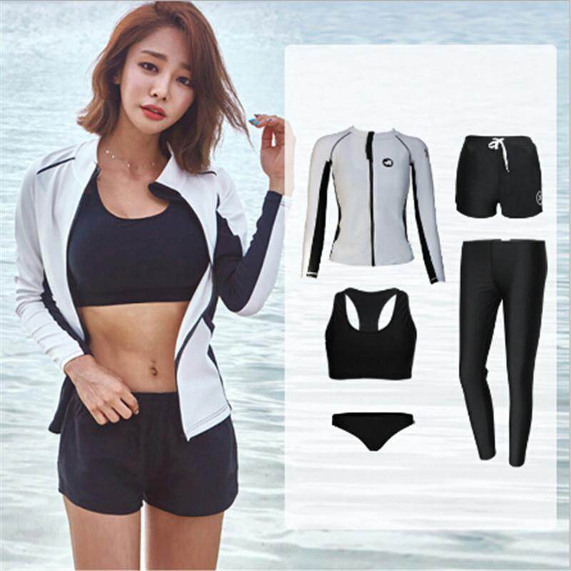 69d47f2ed59 Luoke 5pcs black and white Split swimming suit swimwear Long sleeved  trousers Sunscreen Surfing suit swimsuit