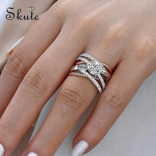 e411b58bcd5a4f ❤SKute Jewelry Luxury Diamond Ring S925 Silver Plated Rings Round Twist Women  Wedding Engagement Party