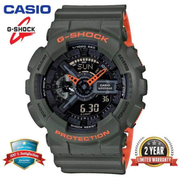 (Ready Stock) Original Casio G Shock GA 110LN-3A Men Sport Digital Watch Duo WTime 200M Water Resistant Shockproof and Waterproof World Time LED Auto Light Wist Sports Watches GA110 Malaysia