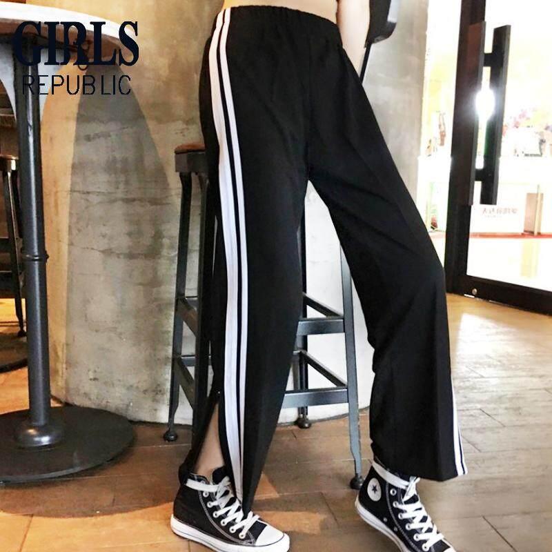 ce1bf3b6429 Girls Republic fashion Loose Pants High Waist Long Pants Sports Style