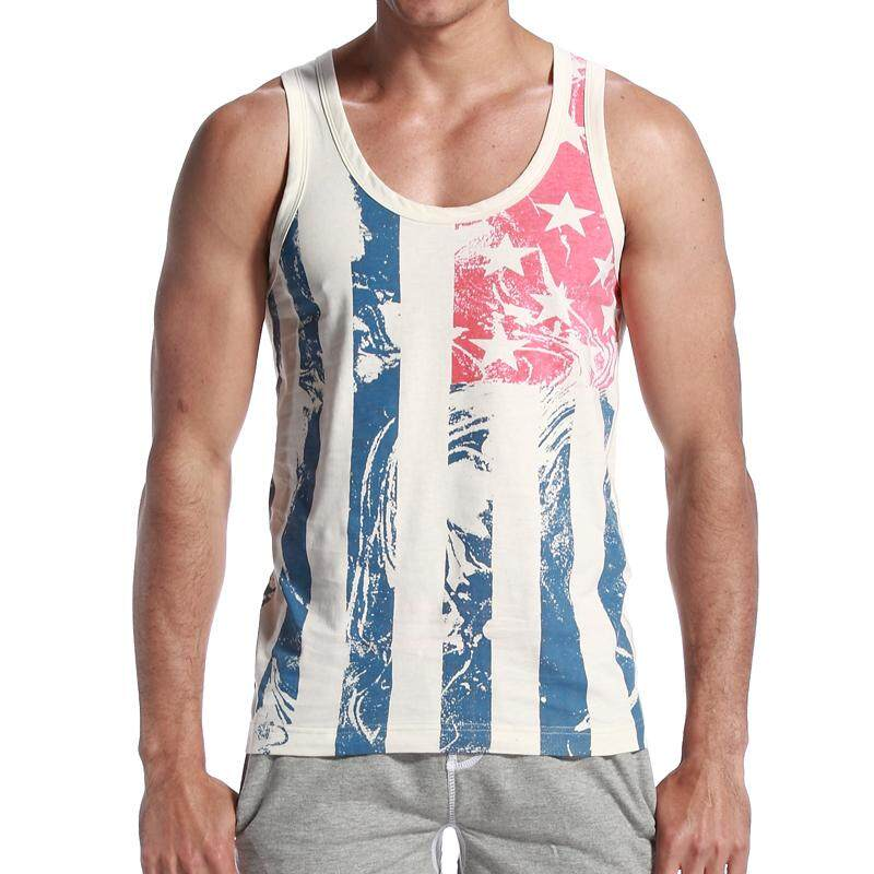 Mens Fashion Outdoor Casual Beach Printing Vest Tanks40702 By Aiguangjie.