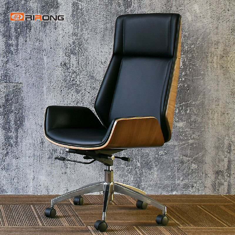 Walnut Black Leather Home Office