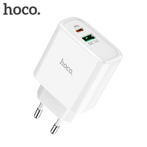 Sạc Nhanh Hoco 3.0 Sạc USB Đa Năng 18W QC3.0 & PD Sạc Điện Thoại Di Động Nhanh Cho iPhone 11 Pro Max XS XR Samsung Xiaomi Huawei Realme-Phích Cắm 2 Pin (EU)