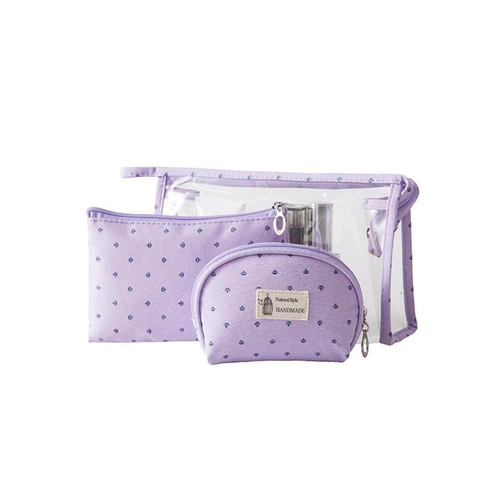 Dfzx Trade 3pcs/set Women Travel Cosmetic Bag Transparent Zipper Make Up Bag Wash Kit Bag By Dfzx Trade.