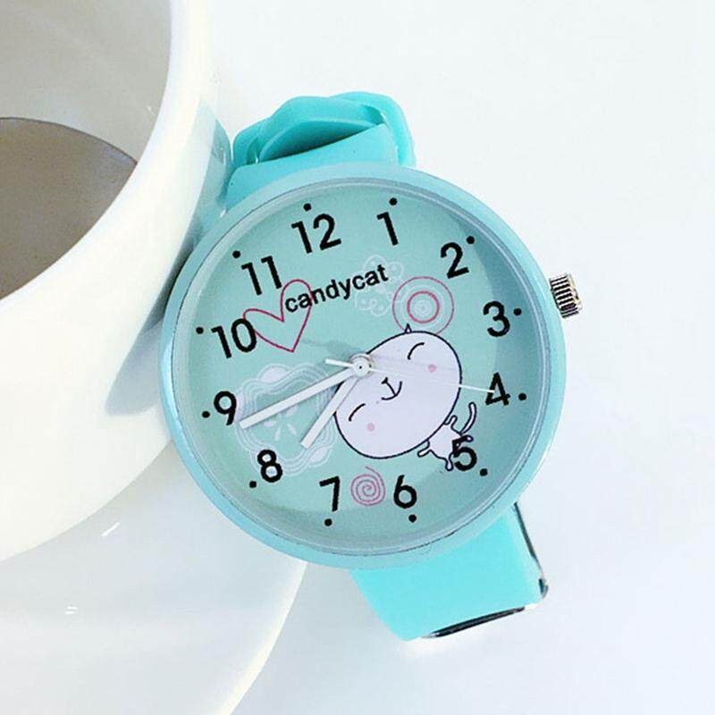 SWEDY New Fashion Cute Cartoon Girl Pink Watch Girl Simple Candy Color Malaysia