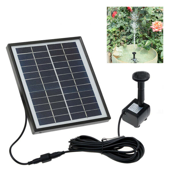 5W 12V Solar Panel Powered Water Pump Pond Garden Pool Aquariums Fountain 400L/H DC35-0915