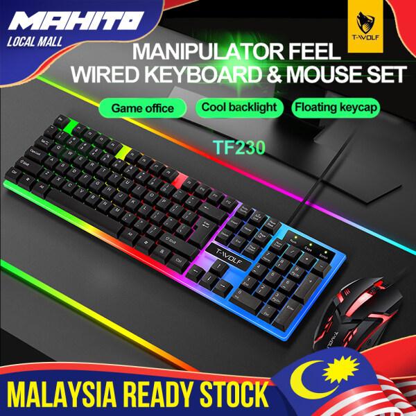 TF230 Rainbow Backlight Usb Ergonomic Gaming Keyboard And Mouse Set For Laptop Wireless Keyboard Keyboard Wireless Bluetooth Malaysia