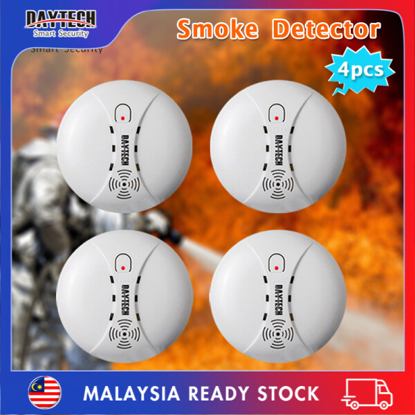 [Malaysia Ready Stock]Daytech Smoke Detector Fire Alarm Battery 9V Powered Home Security for Hotel/Restaurant/Home/School 4PCS SM02
