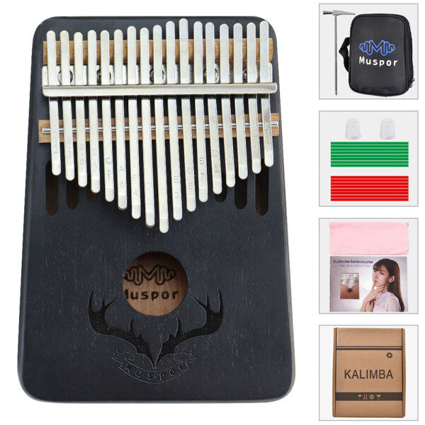 Đàn kalimba full phụ kiện Đàn kalimba giá rẻ Đàn kalimba Đàn kalimba 17 Phím gỗ gụ xách tay Piano ngón tay cái có Đệm túi Tuner Hammer nhạc cụ Sticker sách bài hát