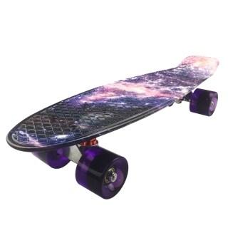 Skateboard Mini Cruiser Board 22 inch X 6 inch Retro Longboard Skate Long Board Graphic Galaxy Purple thumbnail